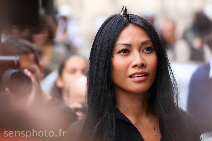 Anggun after Jean-Paul Gaultier show at Paris Fashion Week