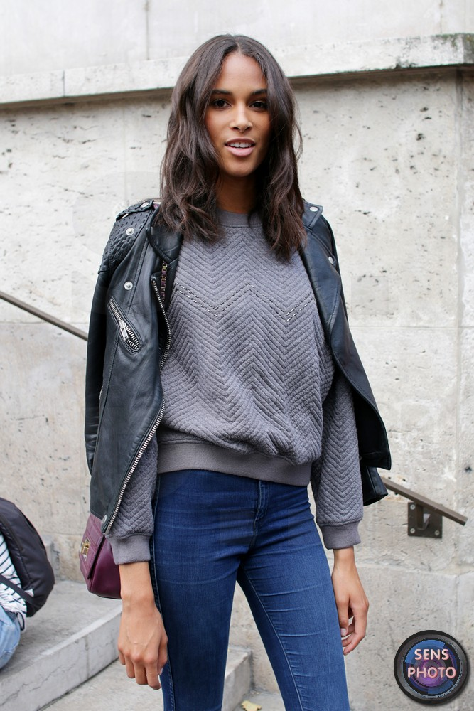 Cindy Bruna, after Zuhair Murad show at Paris Fashion Week 2015-07-09