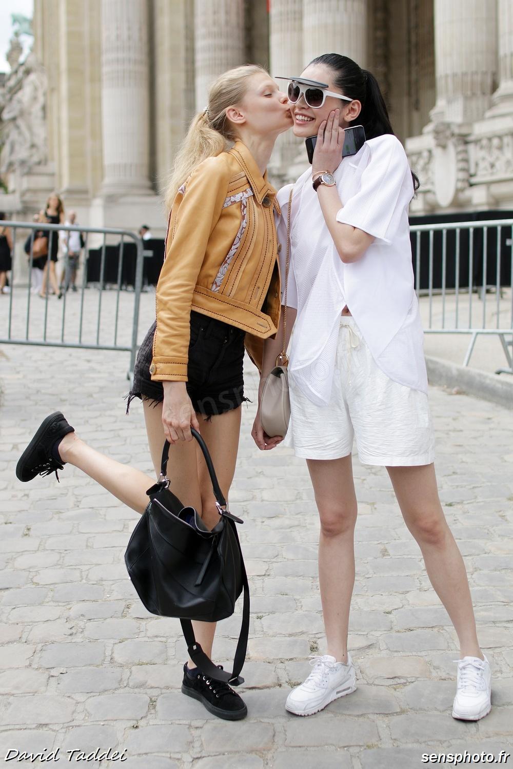 a model and Ming Xi, Paris Fashion Week Chanel