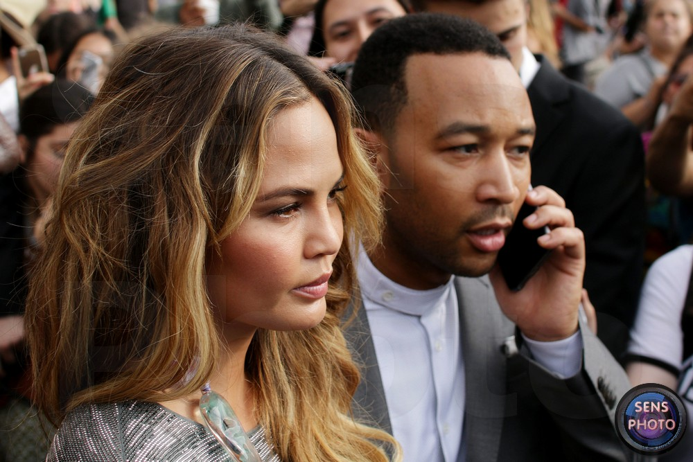 John Legend and Chrissy Teigen attend Armani Show @Paris Fashion Week Haute Couture