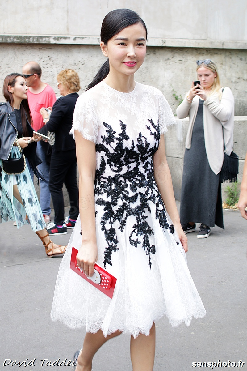 chinese actress Yao Xingtong, after Zuhair Murad show at Paris Fashion Week 2015-07-09