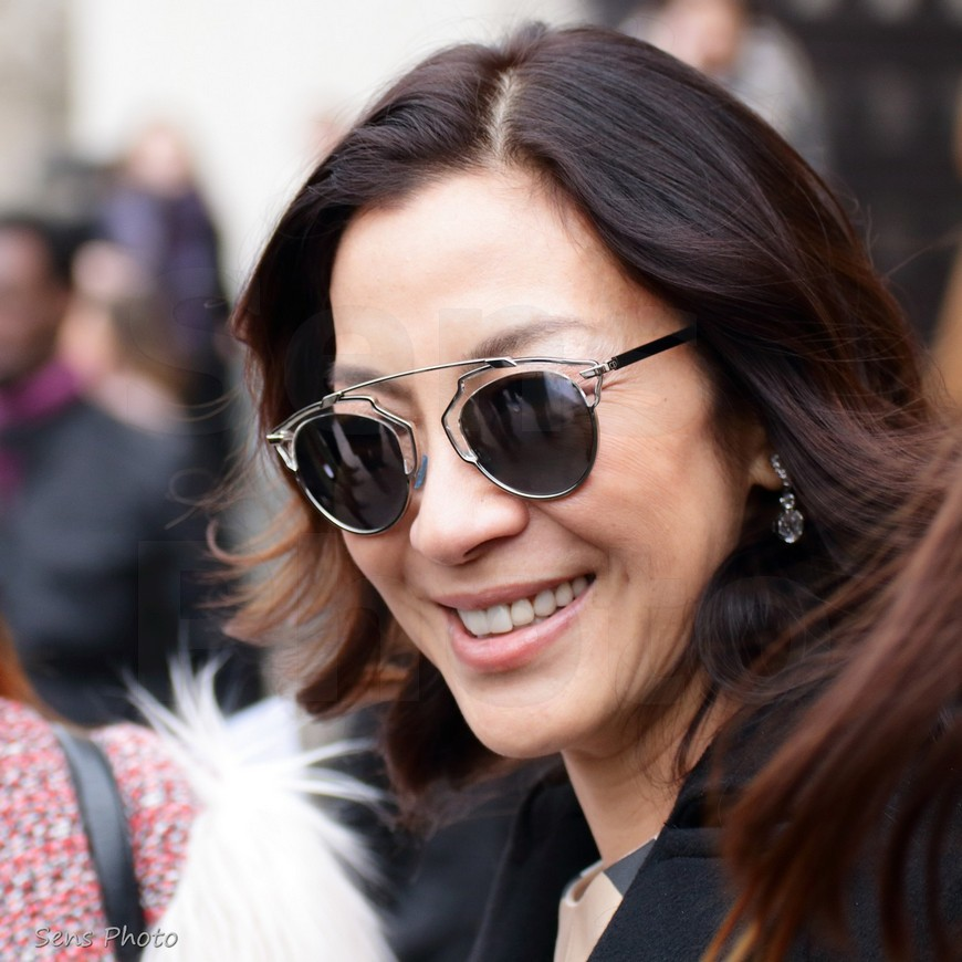 Michelle Yeoh at Paris Fashion Week after Elie Saab Fashion Show