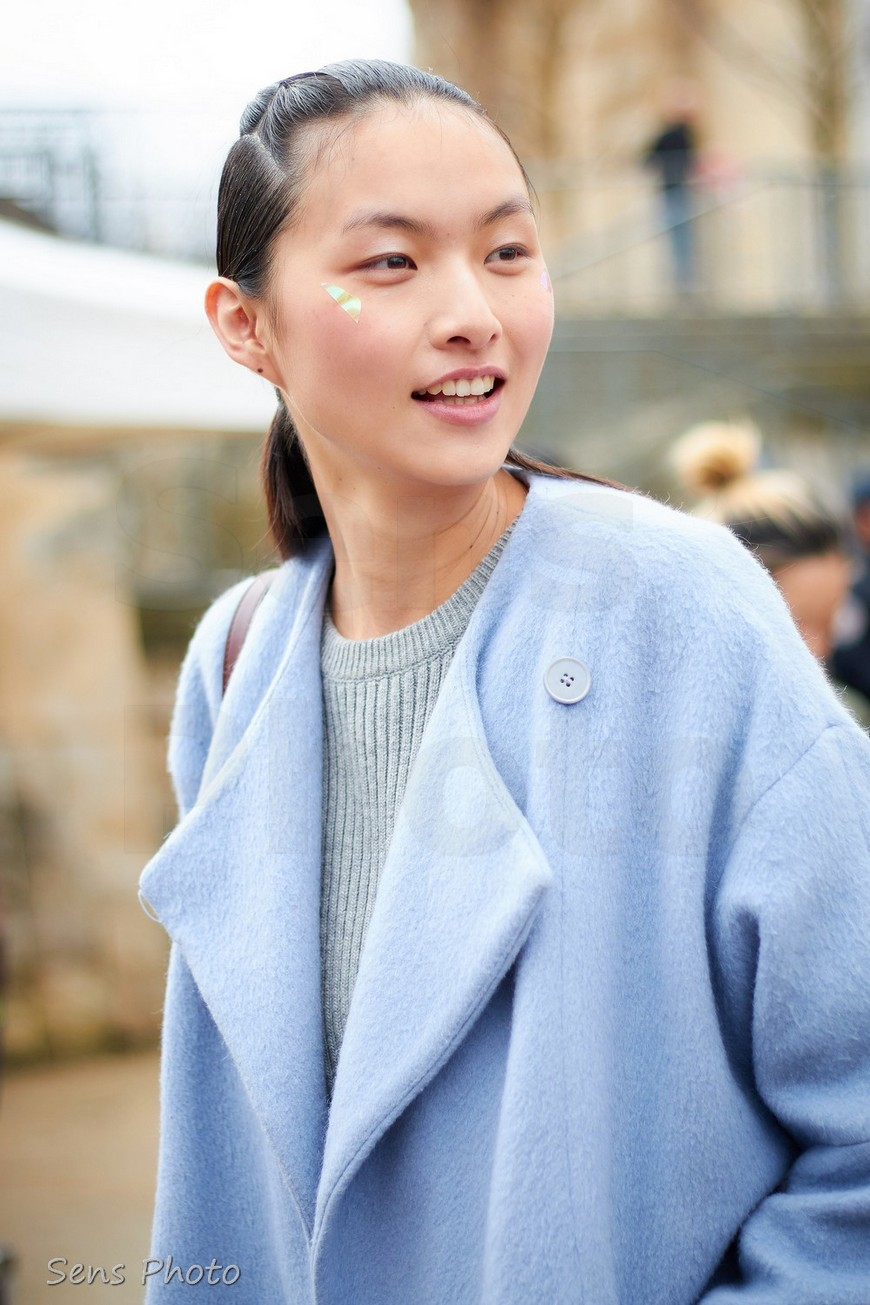 Lingyue Zhang after Issey Miyake show at Paris Fashion Week