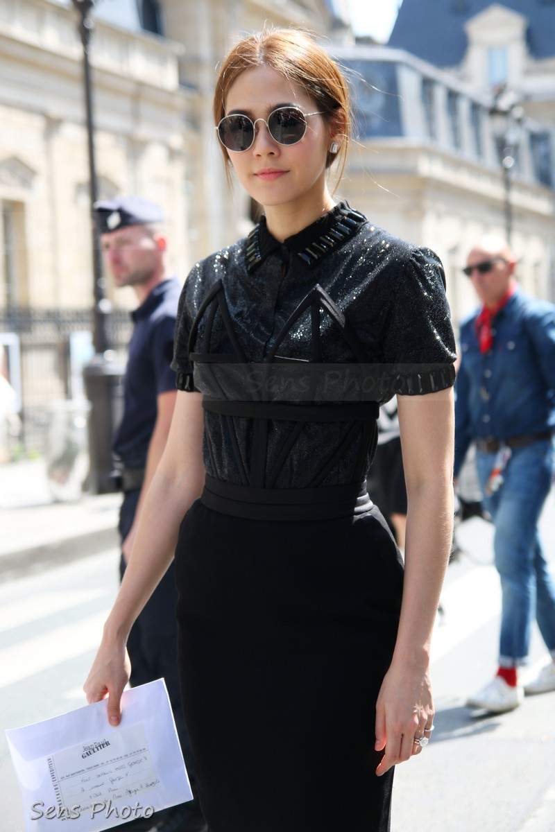 Chompoo Araya A. Hargate attends Jean-Paul Gaultier at Paris Fashion Week