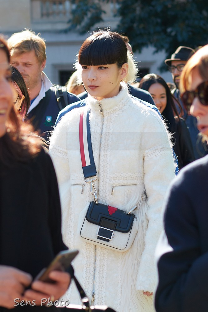 Kozue Akimoto after Moncler Gamme Rouge Fashion Show Paris